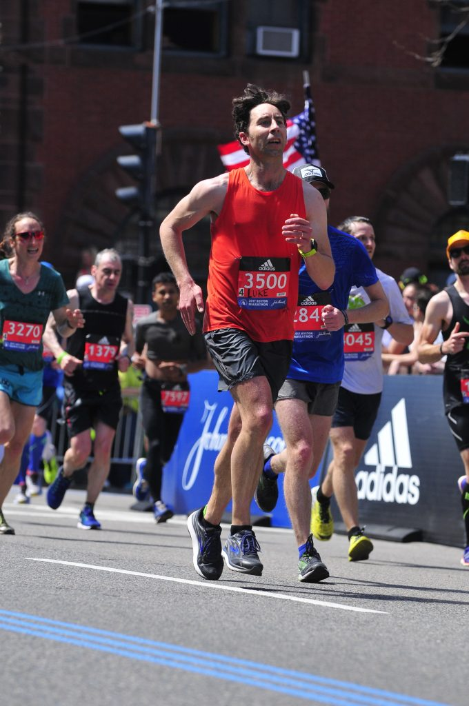 Coming down the homestretch on Boylston Street, Boston Marathon 2017. Finished in 3:10:21. This year was especially tough, as it was a bit hot with temperatures in the 70s. But I ran fast enough to qualify again for a fourth straight year. See you in Boston again in April 2018.